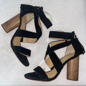 Splendid Black Suede Jara Strappy Sandals